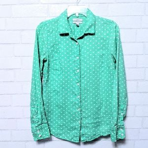 J. Crew Perfect Fit Linen Polka Dot Button Top